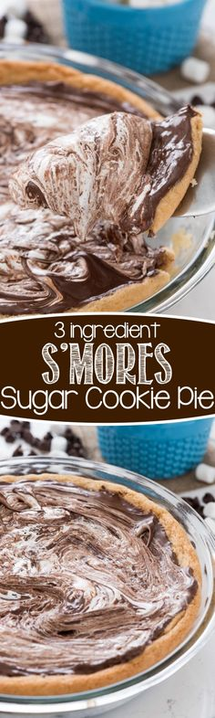 S'mores Sugar Cookie Pie - this easy cookie pie recipe has only 3 ingredients. It's gooey and chocolatey and the perfect s'mores dessert!