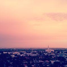 beautiful pink sky in LA