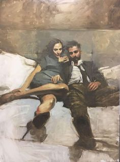 """Binge"" - Michael Carson (b. oil on panel, 2017 {figurative art seated male female couple cropped painting} Art And Illustration, Figure Painting, Painting & Drawing, Figure Drawing, Couple Painting, Contemporary Artists, Modern Art, Portrait Art, Portraits"