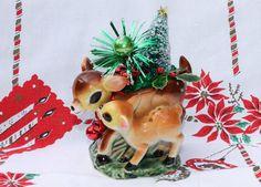 Christmas Arrangement in Vintage Ceramic Deer Vase by Mercymay