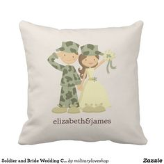 Soldier and Bride Wedding Custom Pillow