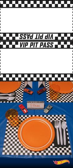 Set the kids table for an epic meal with these Hot Wheels table settings. Start by clicking on this pin and printing to create your own custom Pit Pass place settings.