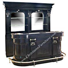 Beautiful Bar 246mod   7 Ft Black Oak Wood U0026 Marble Top Home Bar With Beveled Mirrors