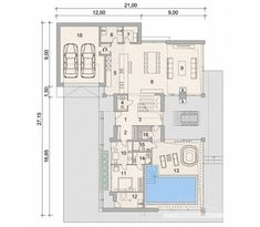 House with attic in modern style with usable area House with a large garage and swimming pool. Balcony Doors, Architectural House Plans, Home Catalogue, Reinforced Concrete, Types Of Houses, New Builds, Ground Floor, Home Projects, Facade
