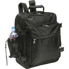"""Black Motorcycle Trunk Bag Backpack Saddlebag Sissy Bar Mesh Water Bottle Holder. 100% brand new and high quality. // Shipping time 5-15 days. Features: Dobby-Weave Construction Zippered Main Compartment with Reinforced Bottom Panel & Compression Straps 4 Exterior Compartments Straps with Hook & Loop Closure for Attaching to Sissy Bar 4 Rings on Top for Use with Bungee Cords Hand Strap with Heavy-Duty Handle Padded, Adjustable, Concealable Shoulder Straps Measures 16"""" x 18"""" x 9"""" Fully..."""