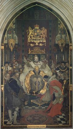 """The Commons petitioning Queen Elizabeth I to marry, by Solomon Joseph Solomon, Palace of Westminster. The paintings subtitle reads """"with this ring I was wedded to the realm"""". Tudor History, British History, Asian History, Elisabeth I, Elizabethan Era, Tudor Dynasty, Tudor Era, Anne Boleyn, A4 Poster"""