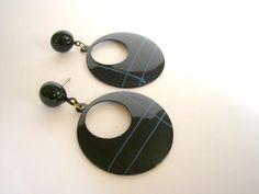 Black and blue enammeled studs earrings by badgestuff on Etsy