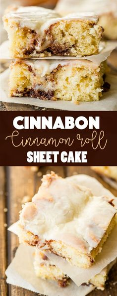 It's happening!! I love sheet cakes! This Cinnabon cinnamon roll sheet cake is one of my newest obsessions. Plus, Cooked Vanilla Cream Cheese Frosting! via @ohsweetbasil