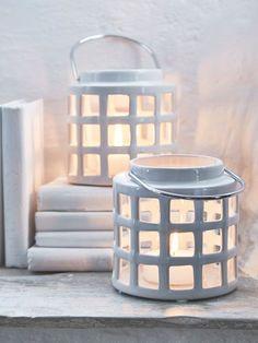 Off-White Ceramic Lantern