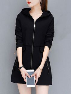 Buy Hooded Contrast Trim Zips Pocket Coat online with cheap prices and  discover fashion Coats at