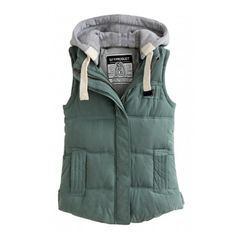 Hooded Color Block Zipper Thicken Padded Vest ($31) ❤ liked on Polyvore featuring outerwear, vests, vest waistcoat, hooded vest, green waistcoat, zip vest and zipper vest
