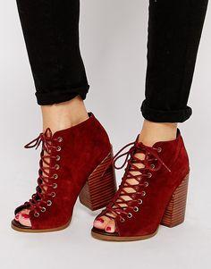 ASOS ESPRESSO Suede Peep Toe Ankle Boots