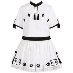 Partiss Womens Han Cheongsam Panda Print Sweet Classic Lolita Dresses (1.705.470 IDR) ❤ liked on Polyvore featuring dresses, white day dress, qipao dress, cheongsam dress, white dress and print dress