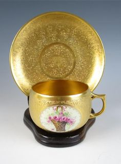 Vintage OSBORNE Gold Encrusted Porcelain Cup & Saucer Pink Roses Artist Pickard in Pottery & Glass, Pottery & China, China & Dinnerware | eBay