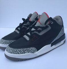 cheaper e4d8f 83fb2 Air Jordan 3 Black Cement Size 9.5  fashion  clothing  shoes  accessories