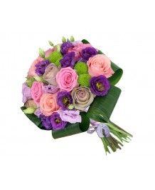 Aranjamente nunta si botez Buchet de mireasa trandafiri si lisianthus