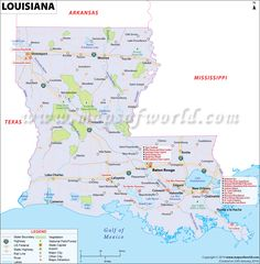 Louisiana Map for free download. Printable map of Louisiana, known as Pelican State, shows cities, rivers, attractions, roads, airports, national parks, etc