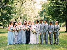 Mismatched Light and Dark Blue Bridesmaid Dresses and Light Gray Tuxedos. Photo by Kristin La Voie Photography. Dark Blue Bridesmaid Dresses, Wedding Bridesmaid Dresses, Bridesmaid Proposal, Grey Tuxedo Wedding, Outdoor Ceremony, Big Day, Light In The Dark, Wedding Colors, Tuxedos