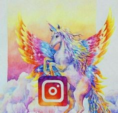 Instagram unicorn Really Cool Drawings, Amazing Drawings, Colorful Drawings, Beautiful Drawings, Amazing Art, App Drawings, Art Sketches, Social Media Art, My Little Pony