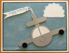 Airplane Punch Art Birthday Card. Circle punches, Word Window Punch, Scallop circle for the cloud.