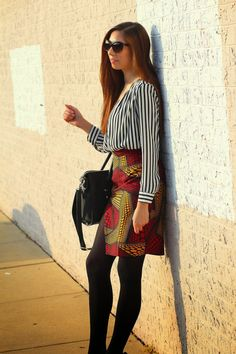 Faux Wrap Pencil Skirt - Red/Yellow — Yetunde Sarumi