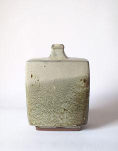 hamada shoji  ceramics   Slab press molded 'henko' bottle vase