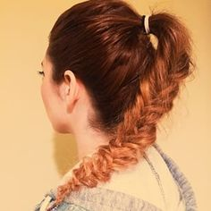 Are you on day two or three of dirty hair? This is a high pony tail with a textured fishtail braid. If you do not have time to wash and blow-dry your hair, this is a fun and easy way to style your hair on the go! #hair #fishtail #braid #highponytail #hair
