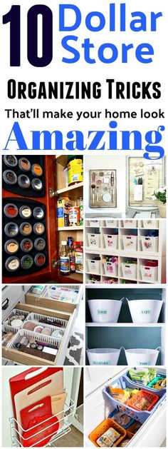 Amazing ways to organize your entire home from the dollar store. We have every room in your house covered (the kitchen, laundry, bathroom, playroom and more!) Home organizing ideas, dollar store organization, dollar store crafts, kitchen organizing ideas, freezer organizing ideas #organization #organize #dollarstore #homemaking