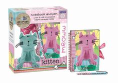 Kitten notebook & pen set, with two chocolate lollies. Chocolate Lollies, Chocolate Hearts, Fabric Animals, Pen Sets, Recycled Fabric, Recycling, Kitten, Notebook, Classic