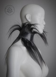 Human hair fringe collar / Black glossy leather high collar Neck corset / Leather choker / Posture collar / Dark fashion / Halloween Fetish