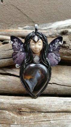 Agate druzy crystal fairy pendant clay from Wakee's Wares on facebook.