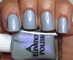 Mountian Mint is a soft and delicate minty color with a beautiful iridescent light pink-purple shimmer and a smidgen of green and gold micro glitter. 2 coats and no topcoat.