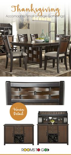 This is the perfect dining room set for your home! Dark browns create a warm, comfortable room to gather with your family and friends. The woven details will really WOW your guests! Shop this dining room set and more at Rooms To Go!