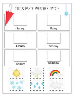 Record the Weather, Writing Practice, & Weather Match Game Printables Weather Activities Preschool, Weather Kindergarten, Toddler Learning Activities, Preschool Learning Activities, Preschool Curriculum, Preschool Printables, Preschool Worksheets, Teaching Weather, Science Classroom