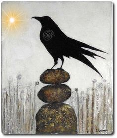 I ROCK- Contemporary Whimsical Raven Painting by Cristina Del Sol Oil & Collage ~ Raven Bird, Quoth The Raven, Crow Art, Bird Art, Black Bird Fly, Soul Collage, Jackdaw, Crows Ravens, Samana