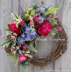 Spring Wreath, Easter Wreath, Floral Wreath, Jewel Tone Wreath, Designer Wreath…