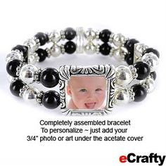 "Completely assembled Photo Keepsake Bracelet from eCrafty.com 1/2"" Frame Silver Stretch Just drop in your photo, wrap and give! Easy quick gift. #photo #bracelet #diy #crafts #beading #mothers #mothersday #ecrafty #photogift #diybracelet #diygift #gift #baby #mom"