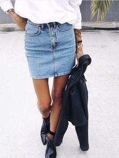 Trade in your dressy pencil skirt and take things down a notch with a denim mini.