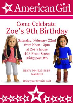 American Girl Birthday Party Invite - PRINTABLE - 5X7