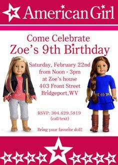 American Girl Birthday Party Invite - PRINTABLE - 5X7