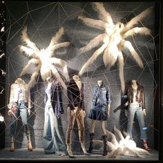 """BERGDORF GOODMAN, New York, """"Listen Jenna... Without men the world would be over run by giant spiders... You listen Mary... I kill my own spiders, sorry men"""", photo by Randy Gunderson, pinned by Ton van der Veer"""