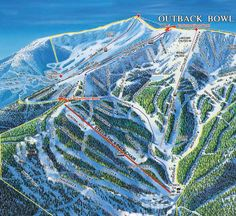 Schweitzer Ski Resort in Sandpoint, Idaho. The Outback Bowl side of the resort with the best LOADED baked potato you will find anywhere at the Outback Lodge.  Ski in/ski out ONLY!
