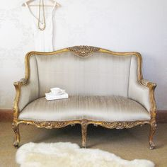 Versailles Gold Bedroom Sofa with Silk Upholstery, French Bedroom Company Decor, Furniture, Home, Beautiful Sofas, Small Couch In Bedroom, Gold Bedroom, French Style Sofa, French Sofa, Bedroom Sofa