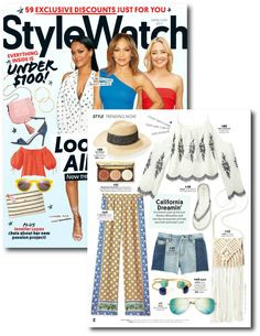 *Find ADMK Jewelry* in the StyleWatch June Issue - California Dreamin' spread! Look Hot All Summer {New trends to try, celeb styles to steal & cool outfits to rock this season}. Summer Trends, New Trends, Latest Trends, Gold Plated Bracelets, Smokey Quartz, Trending Now, Bracelet Sizes, Diamond Shapes, Fashion Watches