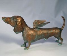 """Dog Sculpture Dachshund """"Musings on the German Airforce"""" by Benbrook I love this, my Dach has her wings now, she passed away! Dachshund Art, Daschund, Weenie Dogs, Doggies, Dog Sculpture, Baby Dogs, Dog Art, Puppy Love, Fur Babies"""