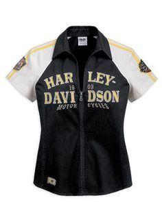Harley-Davidson® Women's Zip Front Woven Shirt - Yellow Colorblocked - 96266-12VW