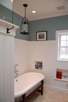 Wainscoting Wallpaper Cabinets wainscoting how to house.Wainscoting Around Windows Board And Batten high wainscoting entryway.Wainscoting How To House. Wainscoting Styles, Wainscoting Bathroom, Bathroom Renos, Bathroom Ideas, Black Wainscoting, Bathroom Remodeling, Bathroom Tubs, Wainscoting Panels, Bath Ideas