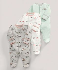 All-in-Ones (3 Pack) Birds Print - 3 For 2 Baby Basics - Mamas & Papas