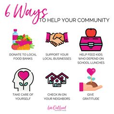 Are you looking for ways to help your community in this time of uncertainty? Even though we can't PHYSICALLY be together, there are so many things we can do from a distance that can positively influence others!   1️⃣ Donate to your local food banks! ⠀⠀⠀⠀⠀⠀ 2️⃣ Support your local businesses!  3️⃣ Help feed kids who depend on school lunches for their meals!  4️⃣ TAKE CARE OF YOURSELF!  5️⃣ Check on your neighbors!  6️⃣ Give GRATITUDE!  Is there anything else we can add to this list?