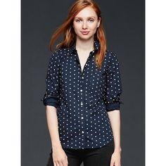 Gap Women Fitted Boyfriend Polka Dot Shirt ($50) ❤ liked on Polyvore featuring tops, indigo polka dot, petite, long sleeve tops, boyfriend shirt, blue top, blue polka dot shirt and polka dot top